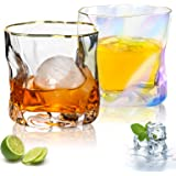 Whiskey Glasses - Set of 2 Premium Classic Crystal Whiskey Glasses with Thick Weighted Bottom for Scotch,Bourbon and Old Fash