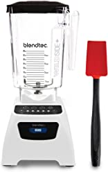 Blendtec Classic 575 Blender withWildside+ Jar (96 oz) and Spoonula Spatula BUNDLE, Commercial-Grade Power, Self-Cleaning, 4 Pre-programmed Cycles, 5-Speeds, White