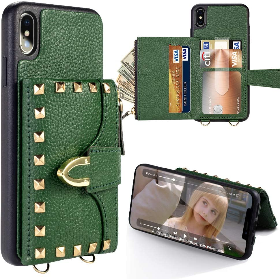 iPhone Xs Max Wallet Case, ZVE iPhone Xs Max Credit Card Holder Case with Wallet Rivet Design Crossbody Handbag Purse Wrist Strap Protective Case Cover for Apple iPhone Xs Max, 6.5 inch - Dark Green
