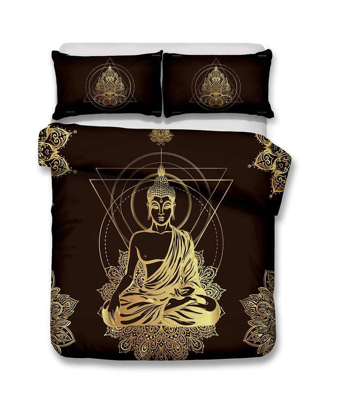 CSYPYLE Ensemble Impression Literie Créatif Triangle Géométrique Motif Statue De Bouddha Taie d'oreiller Confortable