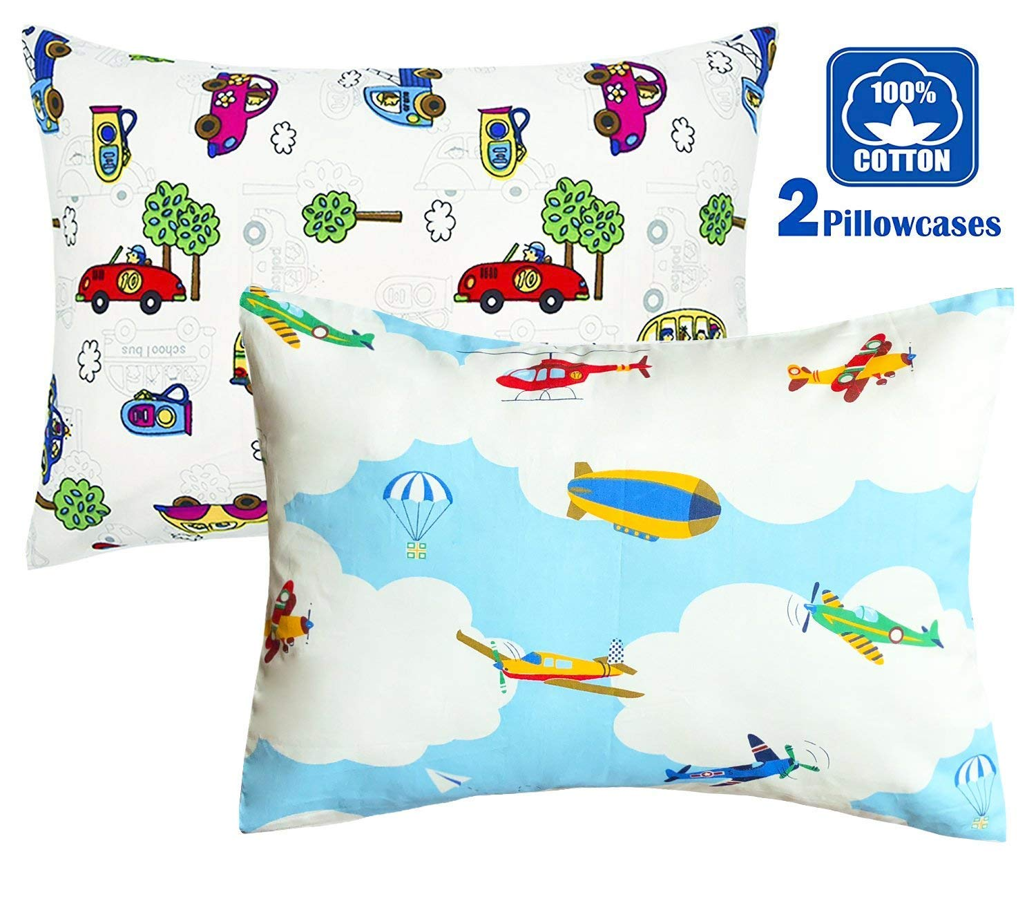 100% Cotton Cartoon Toddler Travel Pillowcase - Cuddle Collection for Boys,For 13x18,12x16 Pillow,Double-Sided Different - Bears and Boats,FREE TRAVEL PACKAGE (2 Bears/Boats) FUMAN