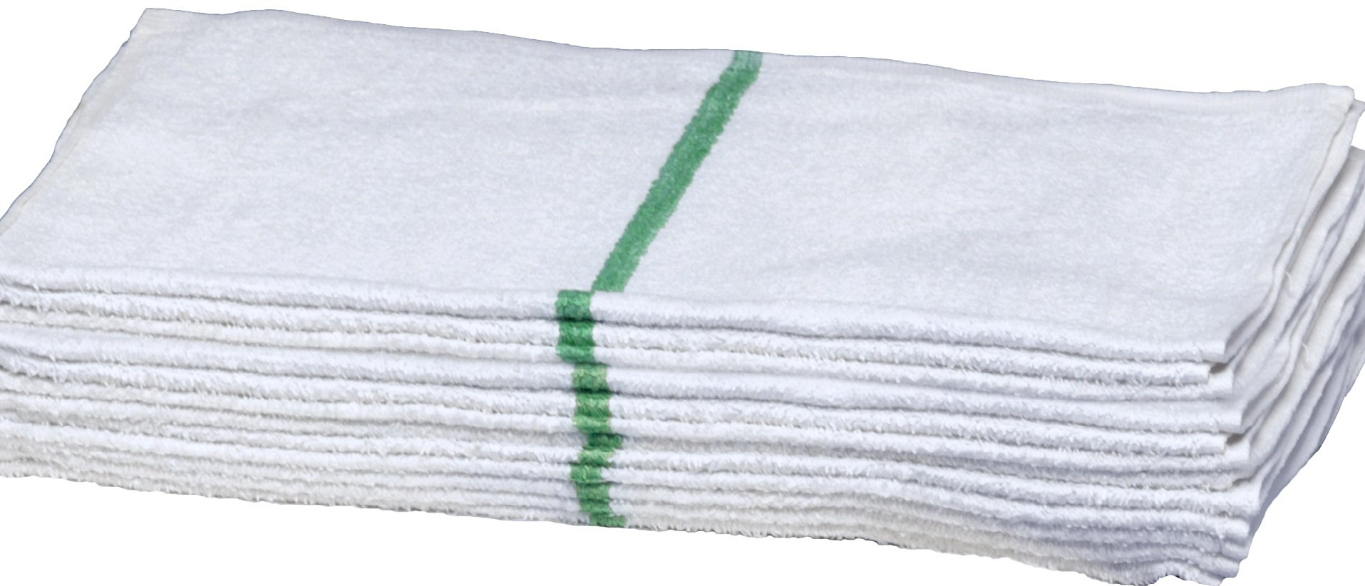 Premium White Hand Towels with GREEN Stripe for Bathroom-Hotel-Kitchen-Spa-Gym-Golf-Set - All Natural Cotton, Soft Ring Spun, Highly Absorbent Hotel Grade, 16x27 Inches - Eco-Friendly, Set of 12