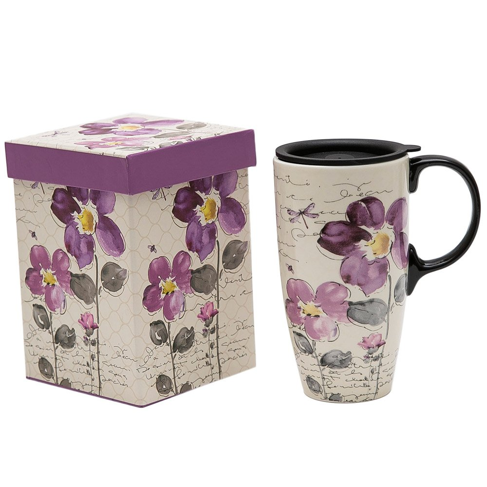 A Ting Tall Ceramic Travel Mug 17 oz. Sealed Lid With Gift Box (Purple Flower) (purple flower)