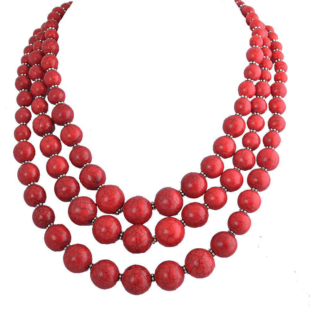 Jane Stone Red Bubble Necklace 3-Layer Illusion Necklace Wedding Bridal Jewelry(Fn0659-Red)