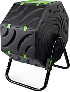 FUNPENY Compost Bin for Outdoors, Ouside,19 Gallon Small Tumbling Composting Bin for Garden,Kitchen Yard Compost Tumbler Rotating