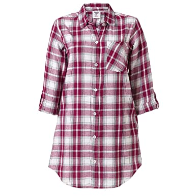 5e2f68bc25 Love to Sleep Woven Check Button Through Women s Nightshirt - Plum Check -  10
