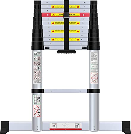 WolfWise Escalera telescópica de 3,8m con barra estabilizadora, multifunción, extensible, Carga Máxima 150 kg: Amazon.es: Bricolaje y herramientas
