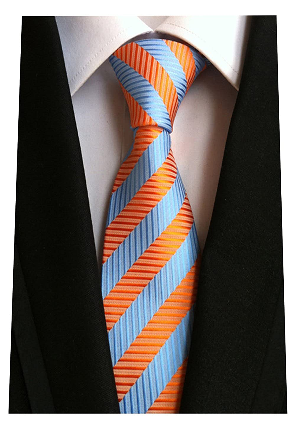 MENDENG New Men's Striped Silk Tie Business Wedding Necktie, Orange, One Size MINDENG NEW6151526