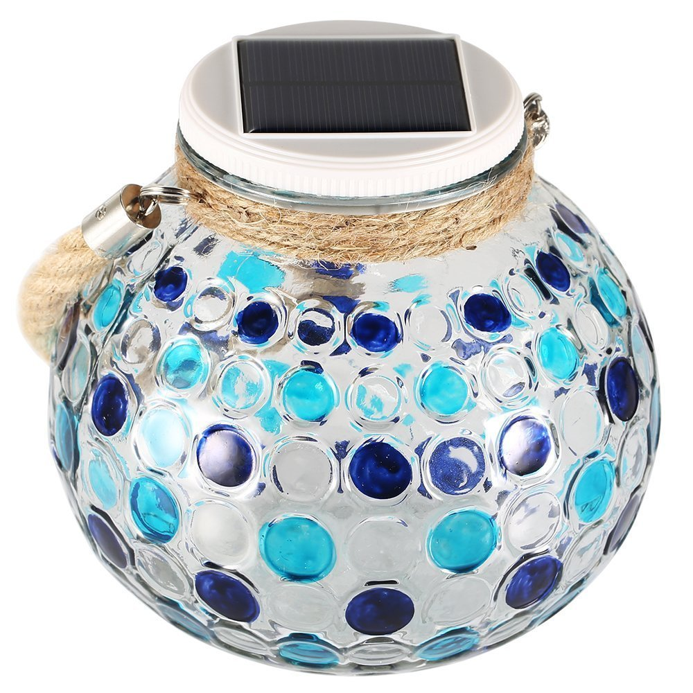 Mosaic Solar Lamp, LAFEINA Color Changing Waterproof Glass Jar Night Lights, Solar Powered Table Lamp, Decorative Mood Lights with Hanging Rope for Outdoor Garden Patio (Blue)