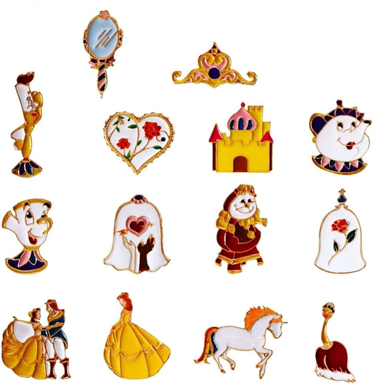 Main Street 24//7 Beauty And The Beast Set of 14 Metal Enamel Logo Pins