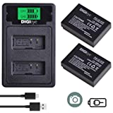 DIGIeye LP-E12 Replacement Battery and Dual LCD USB Charger for Canon SX70 HS, Rebel SL1, EOS-M, EOS M2, EOS M10, EOS M50, EOS M100 Mirrorless Digital Cameras (Tamaño: LP-E12 Battery*2 + LCD Dual Charger)