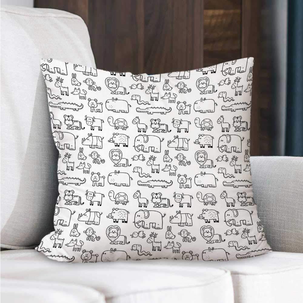 Amazon.com: Nursery Square Throw Pillow,Wild Animals Set in ...