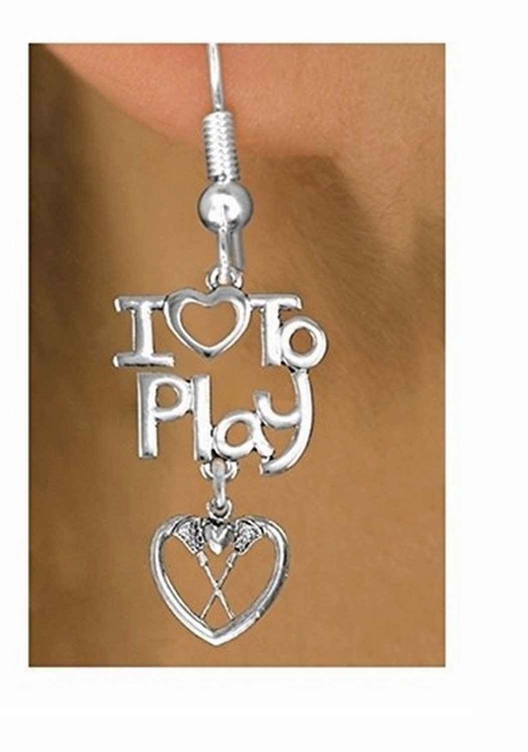 Beautiful Silver Tone I Love To Play & Lacrosse Heart Charm Earrings