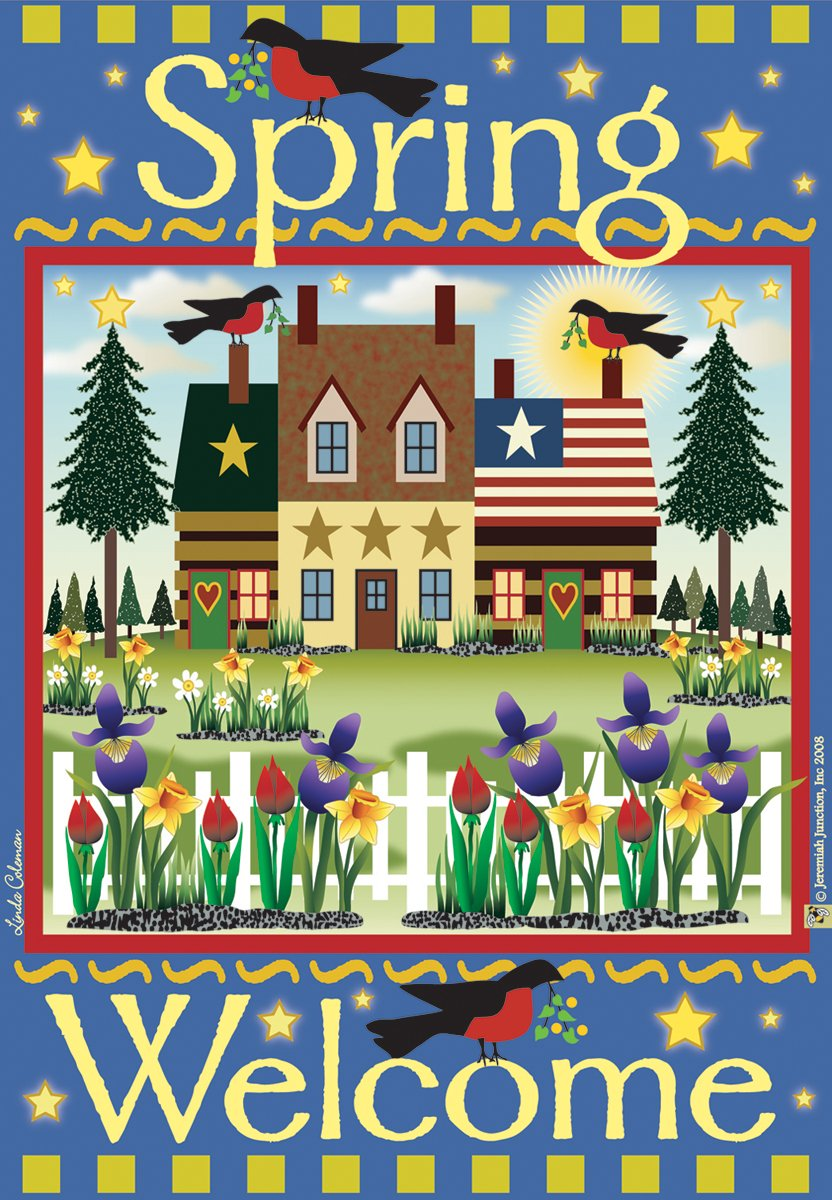 Amazon.com: Jeremiah Junction Garden Flags, Welcome Spring: Arts ...