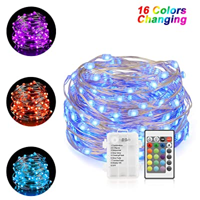 Chalpr String Lights Battery Operated, 16.4ft 50LEDs Multi Color Changing Fairy Lights with Remote, Waterproof Silver Wire Twinkle Lights for Bedroom, Wedding, Parties, Patio, Outdoor Garden : Garden & Outdoor