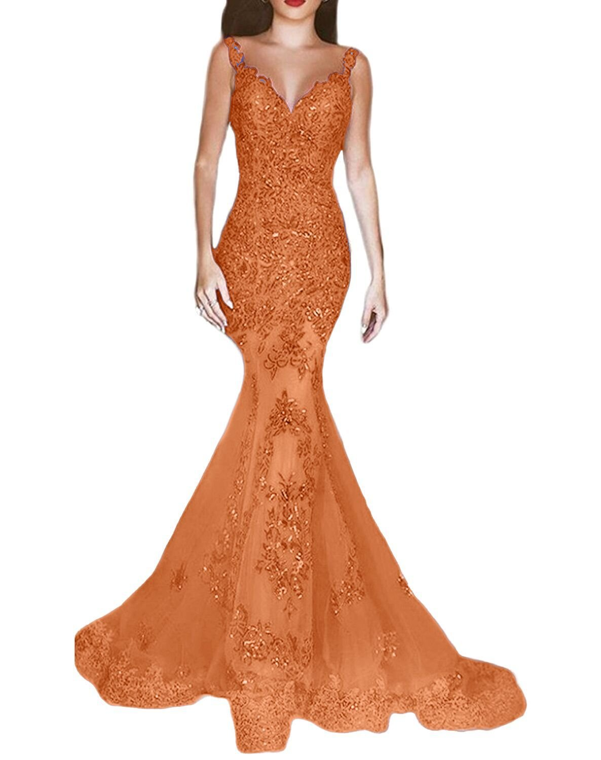 Women Bridesmaid Formal Wedding Prom Mermaid Dresses Beaded Evening Pageant Gown