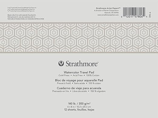 Strathmore P594-17 Watercolor Travel Journal White 7 x 10