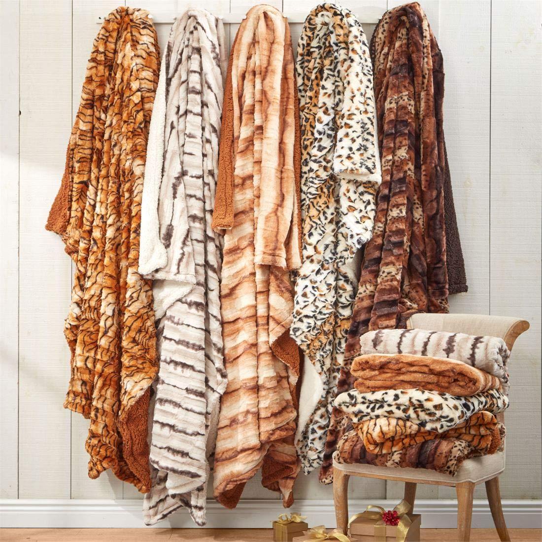 BrylaneHome Faux Fur Animal Print Blanket (Wild Cat Print,Full/Queen)