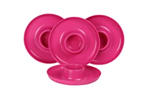 GreatPlate GP-PINK-4PK AZ Pink Plate 4-Pack, 4 Pink GreatPlates, Food Tray and Beverage Holder, Dishwasher Safe, Microwave Safe, Made in USA, Picnics, Parties, Tailgates, Appetizers, Great for Kids
