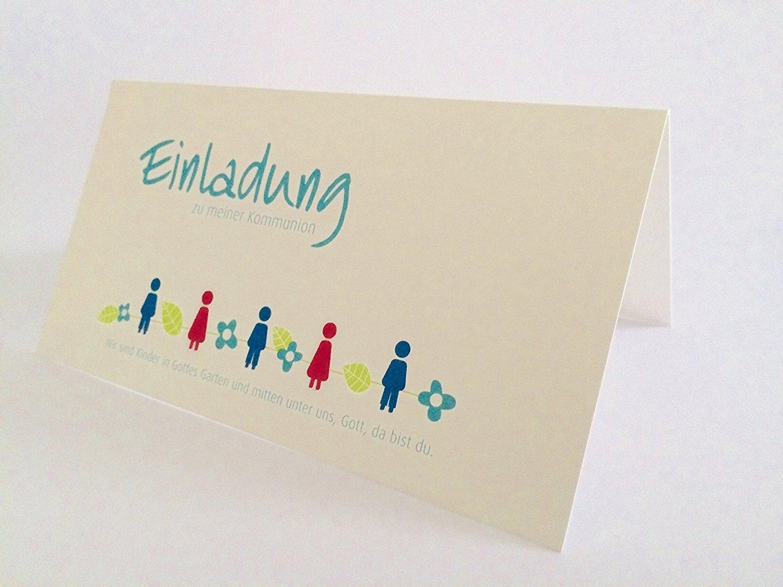 Hochwertige Einladungskarten Zur Kommunion Aus Naturpapier 5 Stück (Kinder)  U201eEinladung Zu Meiner Kommunionu201c Mit Einlegeblatt Und Innentext Auf ...