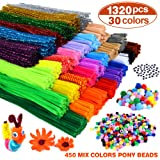 VICOVI 1200 Pipe Cleaners in 30 Colors,Arts and Crafts Supplies Set Include 24 Assorted Colors and 6 Glitter Colors, 100pcs P