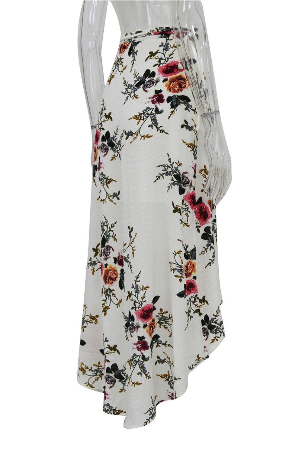 Beachfavora Summer Boho Vintage Floral Print Side Slit Wrap Maxi Skirt Girl Waist Skirts White XL