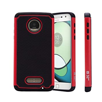 32nd® Funda Rígida Anti-Choques de Alta Proteccion para Motorola Moto Z Play Carcasa Defensora de Doble Capa - Rojo