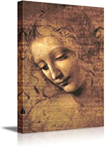 """The Head of a Woman by Leonardo Da Vinci Famous Fine Art Reproduction World Famous Painting Replica on ped Print Wood Framed - Canvas Art Wall Decor - 12"""" x 18"""""""