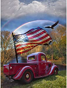 Diamond Painting Kits for Adults Kids, 5D DIY Car & American Flag Diamond Art Accessories with Full Drill for Home Wall Decor - 11.8×15.7Inch