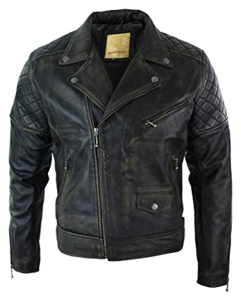 c44a6a9056 Mens Cross Zip Black Brown Washed Vintage Retro Biker Jacket Zipped Real  Leather