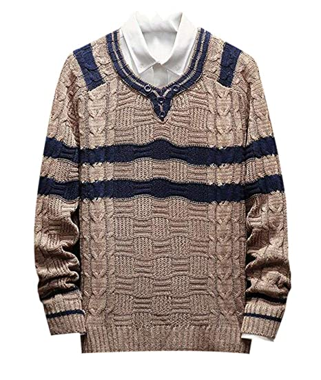 dd8f226488e502 CFD Mens Classic Baggy O-Neck Long Sleeve Knitted Pullover Sweater at  Amazon Men's Clothing store: