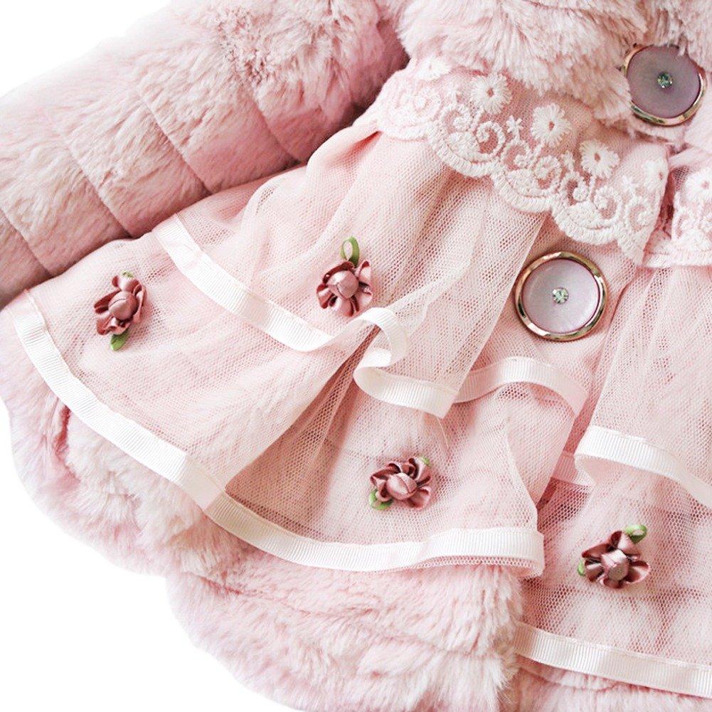 iEFiEL Baby Girls Infant Faux Fur Flower Pearl Coat Winter Warm Jacket Snowsuits