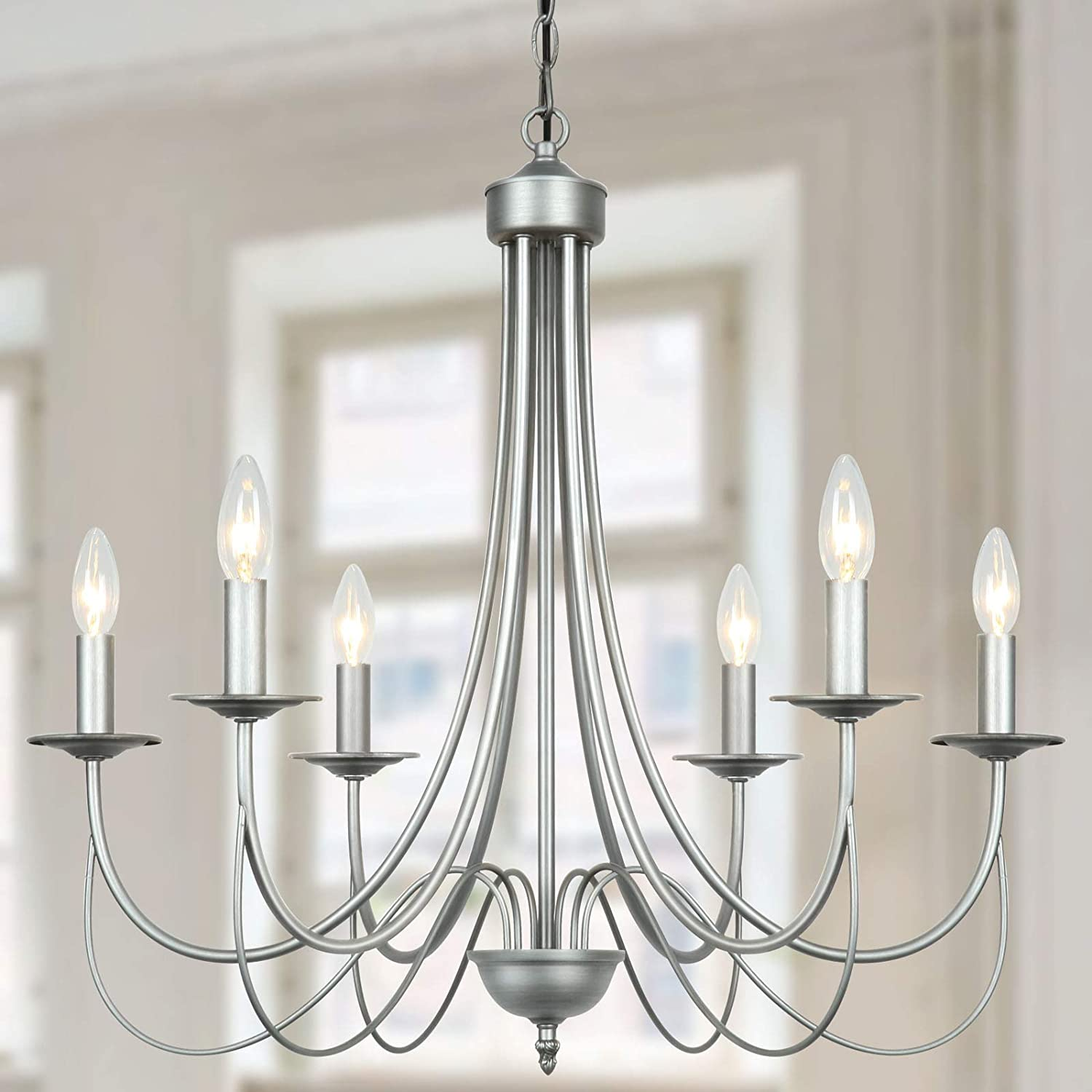 Derksic French Country Chandelier 6-Light Farmhouse Lighting Modern Candle Chandeliers for Dining Room Living Room Bedroom Kitchen Island Foyer, Brushed Silver Gray Finish