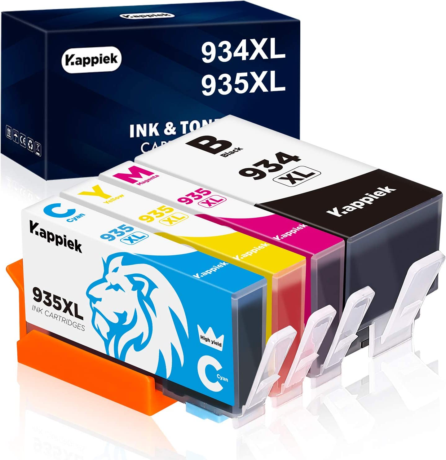 Kappiek 934XL 935XL Compatible Ink Cartridge Replacement for HP 934 and 935 Ink Cartridges for HP Officejet Pro 6830 6230 6815 6835 6812 6820 6220 Printer (1 Black, 1 Cyan, 1 Magenta, 1 Yellow)