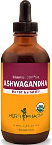 Herb Pharm Certified Organic Ashwagandha Extract for Energy and Vitality, Organic Cane Alcohol, 4 Ounce