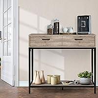 Artiss Console Table Industrial Hallway Table Oak - 90(L) x 34W x 80(H) cm