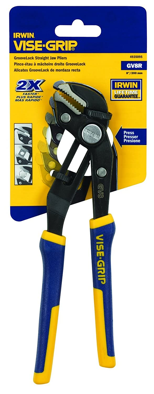 Irwin Industrial Tools 4935095 8-Inch Straight Jaw GrooveLock Plier - Locking Jaw Pliers - Amazon.com