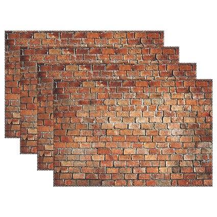 Amazon Com Promini Heat Resistant Placemats Retro Brick Wall