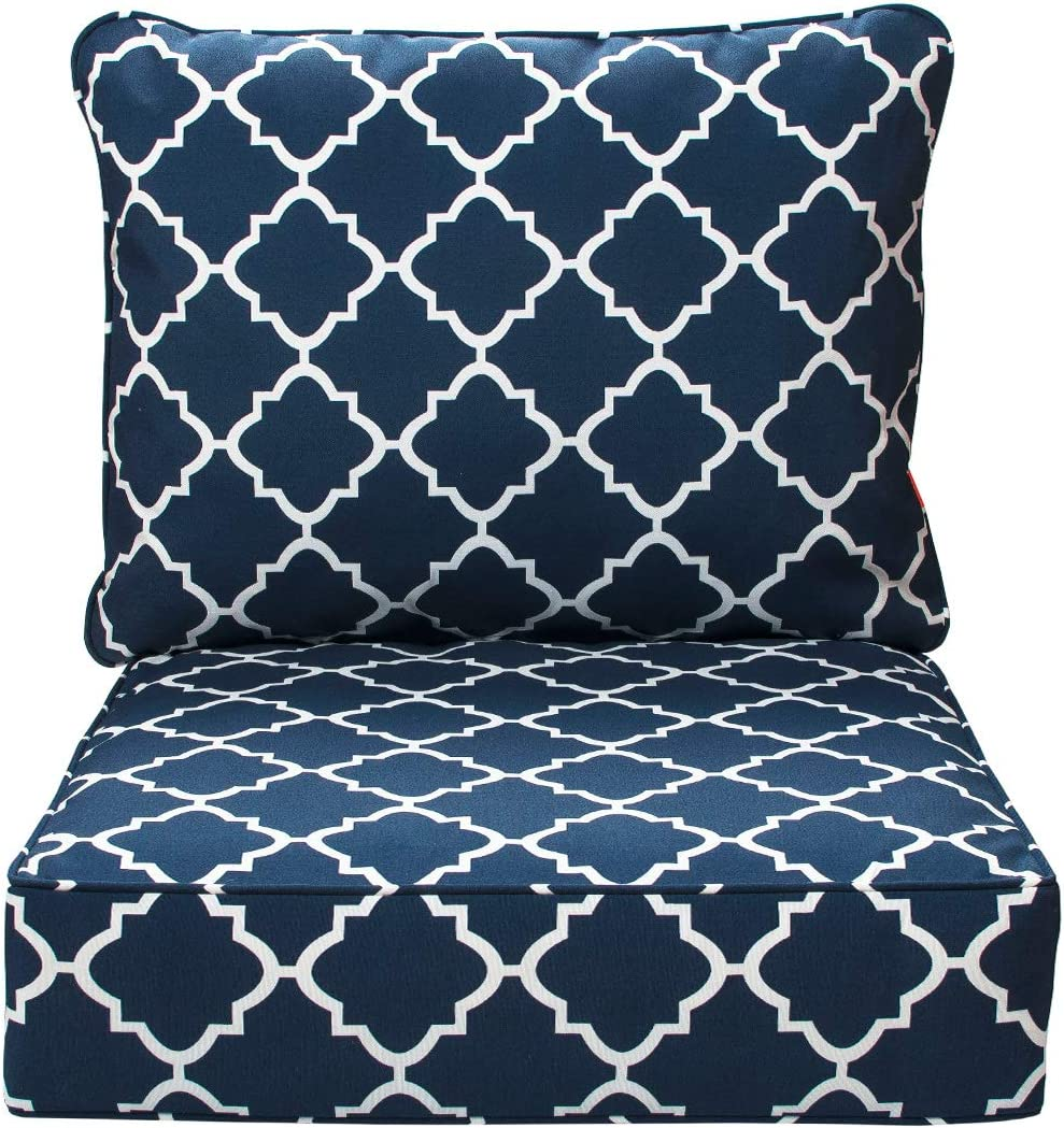IN4 Care Outdoor Patio Deep Seat Cushions and Back, All Weather Large Size Replacement Cushion for Patio Chair Furniture, 24