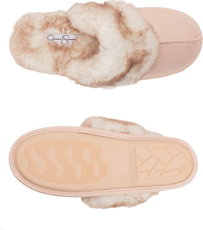 Jessica Simpson Comfy Faux Fur Womens House Slipper Scuff Memory Foam Slip On Anti-Skid Sole