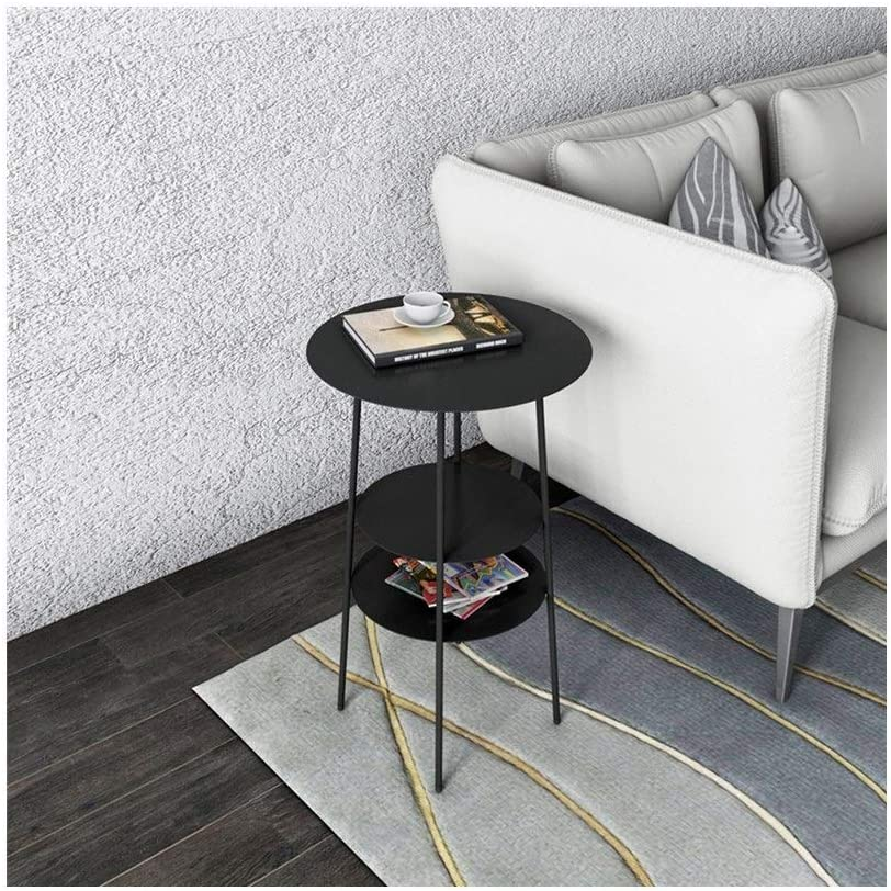 Snelle Express Multifunctionele Simple Storage Kleine Ronde Tafel Multi-layer Metal End Tables, 40X40X62CM 4.11 (Color : Black) Black sfLUBJ9