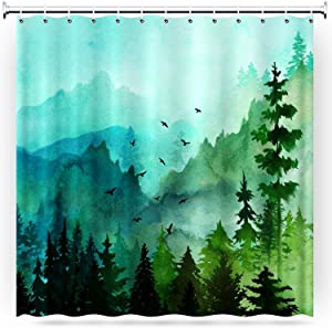 Gofupa Shower Curtain, Durable Polyester Fabric Waterproof Fabric Shower Curtain with 12 Hooks and Rust-Resistant Grommet Holes for Bathroom Home Decor(Forest,71x71Inch)