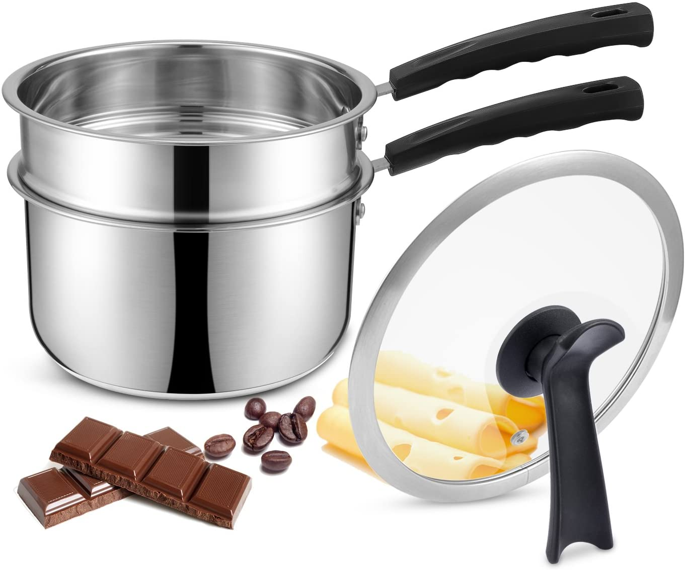 Capacity Is About 13 Ounces AIKEFOO 304 Stainless Steel Two-Pot Boiler For Melting Chocolate Candy Caramel And Making Candles And Sauces.Easy To Clean Butter With Pink Silicone Spatula Cheese