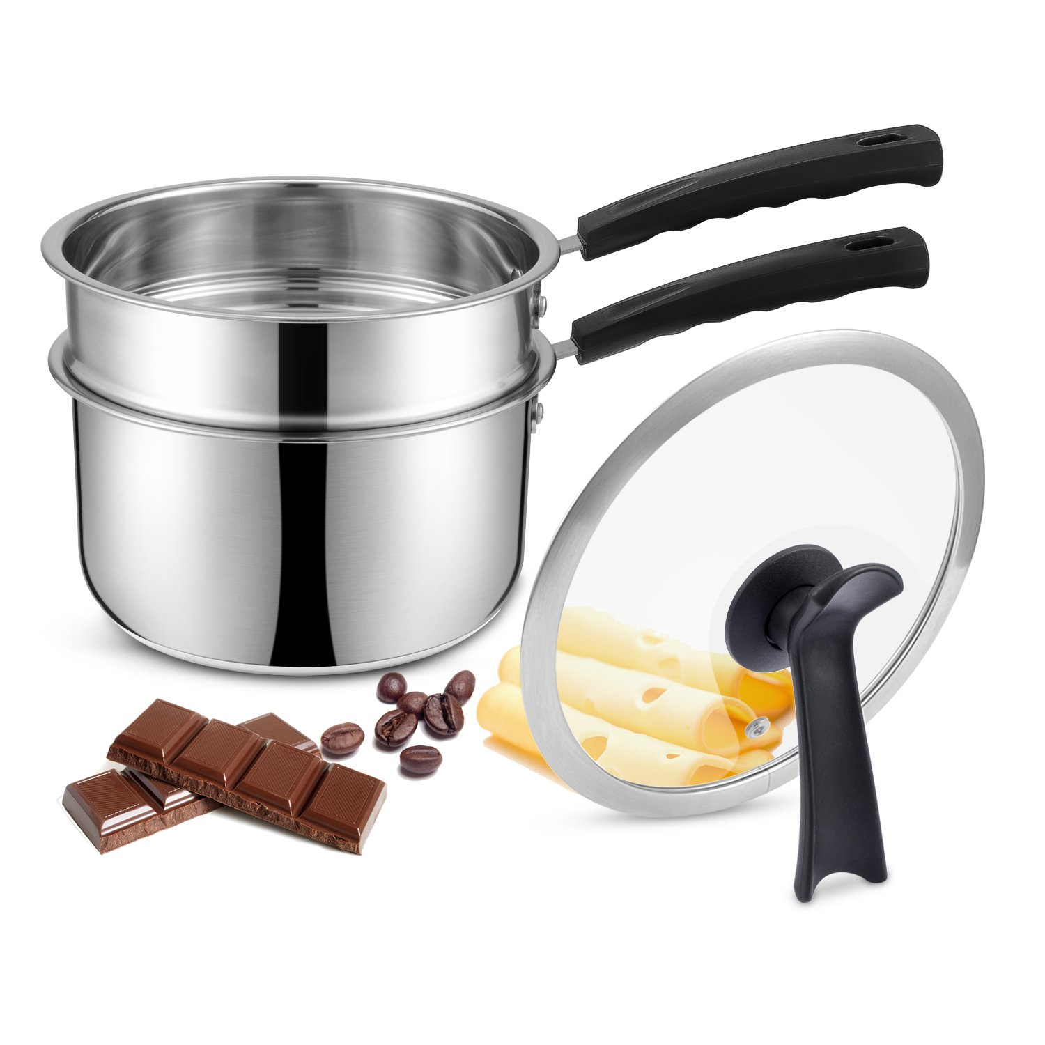 Double Boilers&Classic Stainless Steel Non-Stick Saucepan,Melting Pot for Butter,Chocolate,Cheese,Caramel and Bonus with Tempered Glass Lid