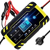 TOPERSUN 8A 12V / 24V Automotive Battery Charger Maintainer Smart Car Battery Charger with LCD Screen Multi Protections…