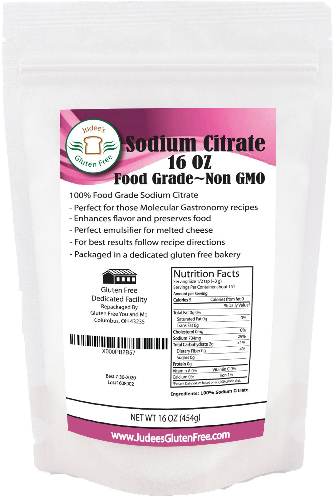 Food Grade Non-GMO Sodium Citrate(16oz/454g) Excellent for Creating Cheese Sauces, Spherification and More