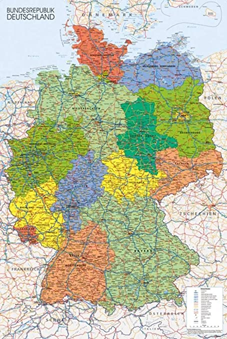 Map Of Deutschland Germany.Germany Map Reference Poster 24 X 36in