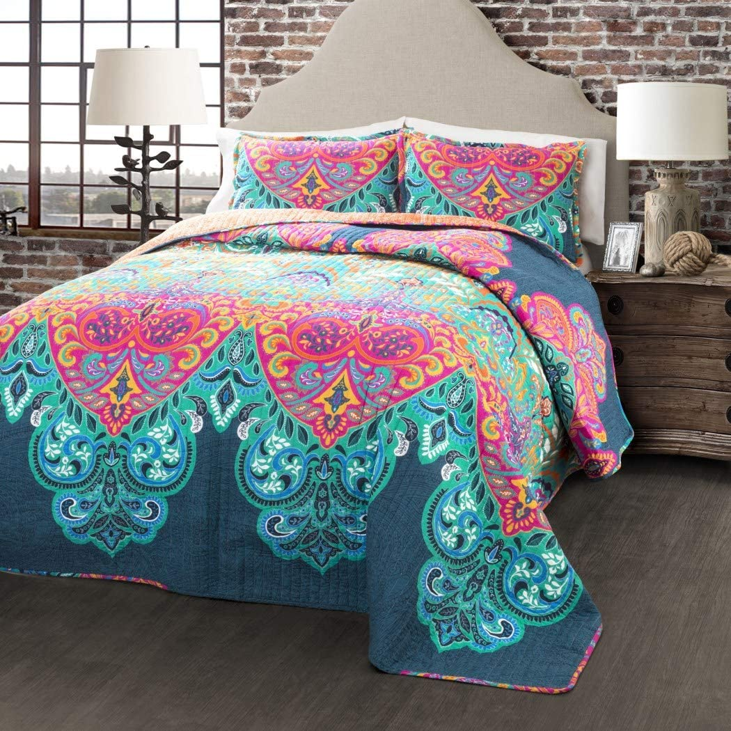 3 Piece Girls Rainbow Bohemian Quilt Full Queen Set, Beautiful Boho Chic Floral Bedding, Colorful Multi Hippie Medallion Flower Motif Aztec Southwest Indian Themed Pattern Navy Teal Blue Pink Orange