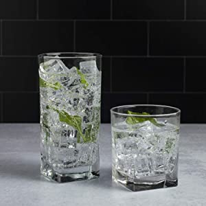 Drinking Glassware Set by Home Essentials and Beyond - Set of 8 | 4 Highball Glasses (16 OZ) And 4 Rocks Glasses (13 OZ) Heavy Square Base Glass Cups for Water, Juice, Beer, Wine, And Cocktails