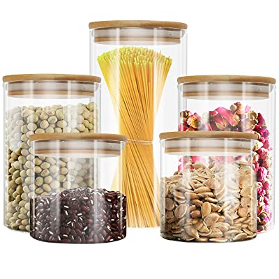 Buy Yuncang Glass Jar With Lid Set Of 5 Stackable Kitchen Canisters Set 5 Pack Clear Glass Food Storage Jars Container With Airtight Bamboo Lid For Candy Cookie Rice Sugar Flour Pasta Nuts Online In Indonesia B08kypmlc6